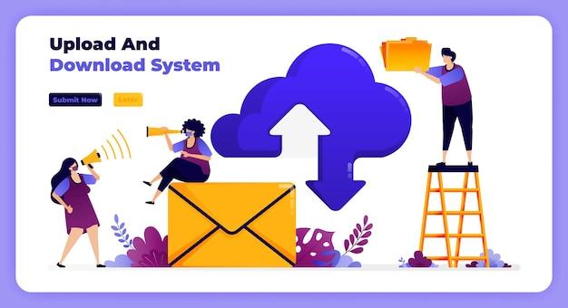 Rede de download e upload de internet em sistema de nuvem e serviços de e-mail. Vetor Premium