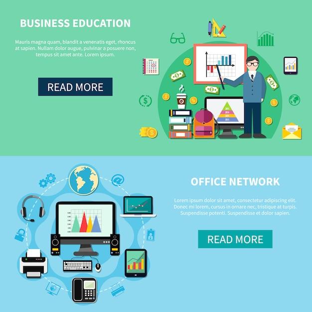 Rede de escritório e banners de educação de negócios Vetor grátis