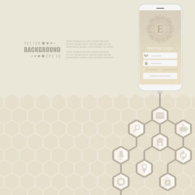 Rede de hexágono com ícone no fundo. Vetor Premium