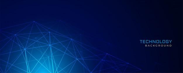 Rede de malha de arame abstrato azul tecnologia fundo Vetor grátis