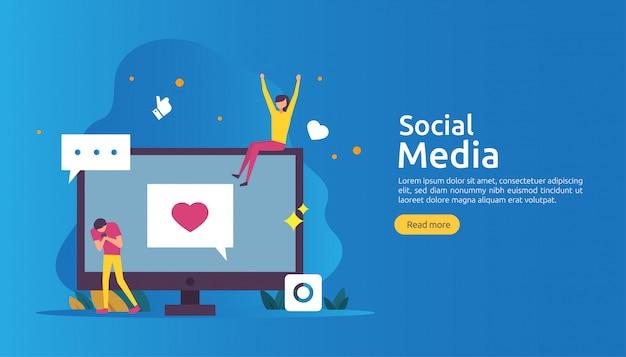 Rede de mídia social e conceito de influenciador com caráter de jovens em estilo simples Vetor Premium