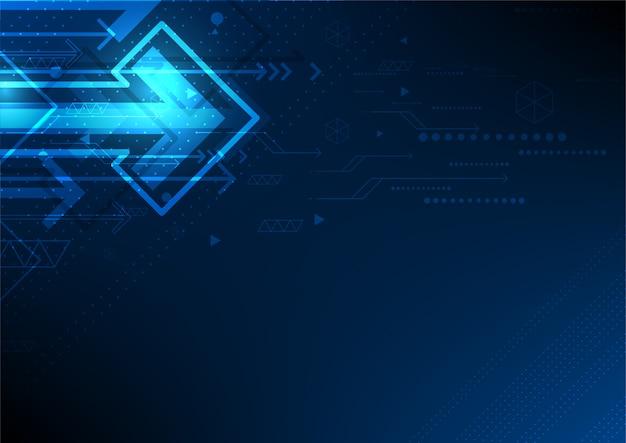 Rede de tecnologia de automação de vetor, fundo futuro seta abstrata Vetor Premium