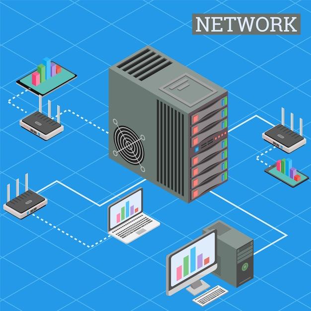 Rede isométrica de internet e computação em nuvem Vetor Premium