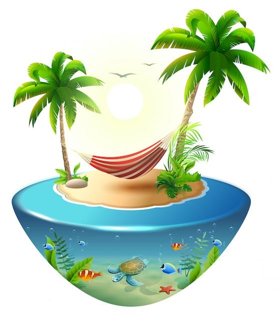 Rede listrada entre palmeiras na ilha tropical. férias na praia paradisíaca no havaí Vetor Premium
