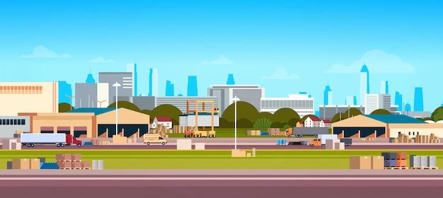 Rede logística global terminal entrega estoque caminhão carregamento armazém conceito de transporte internacional paisagem urbana Vetor Premium