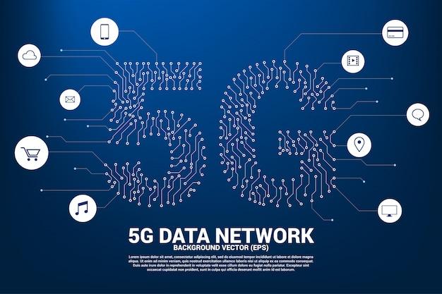Rede móvel 5g de estilo gráfico de placa de circuito ponto e linha Vetor Premium