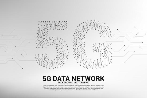 Rede móvel 5g de placa de circuito de ponto e linha Vetor Premium