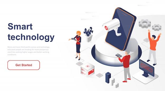 Rede ou tecnologia inteligente isométrica da página de destino Vetor Premium