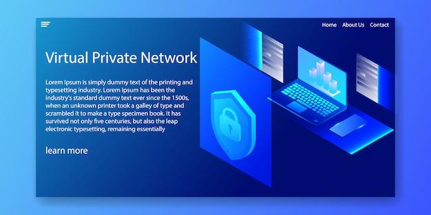 Rede privada virtual isométrica, modelo de site. Vetor Premium