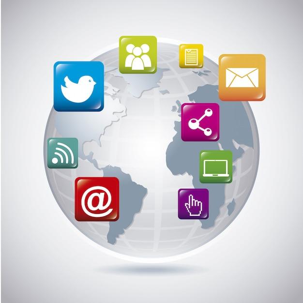 Rede social do mundo sobre fundo cinza Vetor Premium