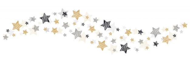 Redemoinho de estrelas de rabisco de natal no fundo branco Vetor Premium