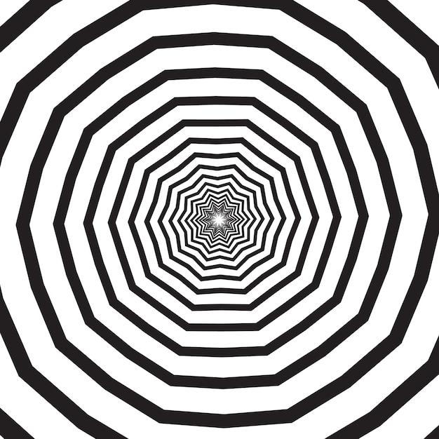 Redemoinho preto e branco poligonal, hélice ou vórtice. efeito rotativo psicodélico ou espiral hipnótica. ilustração em vetor monocromático geométrico. Vetor Premium