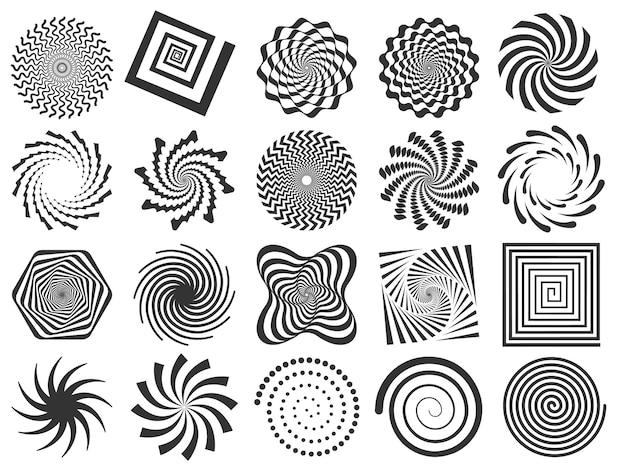 Redemoinho silhueta. giro de roda espiral, redemoinhos círculo e silhuetas rodadas abstratas conjunto de ilustração vetorial Vetor Premium