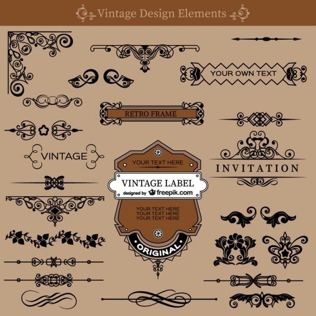 Redemoinhos do vintage decorações conjunto gratuito Vetor grátis