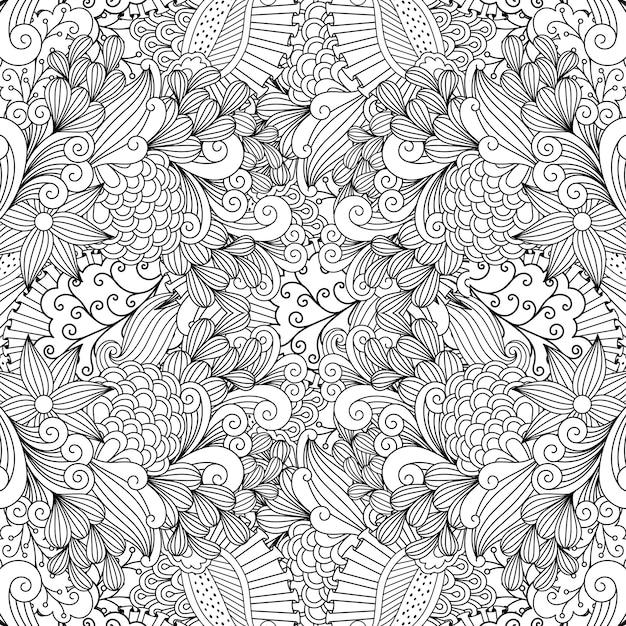 Redemoinhos lineares e folhas doodle padrão Vetor Premium