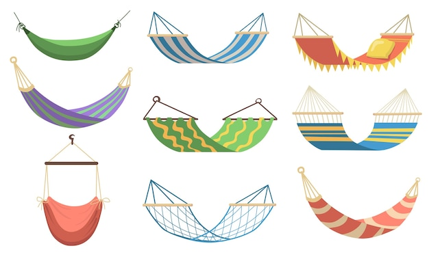 Redes coloridas de diferentes tipos planas para web design. redes de desenho animado para relaxar, balançar, dormir, descansar na coleção de ilustração vetorial de praia. conceito de recreação e férias de verão Vetor grátis