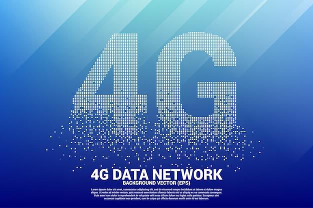 Redes móveis 4g de pequenos pixels quadrados. Vetor Premium