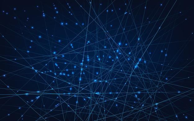Redes neurais. linhas e nós conectados em células. Vetor Premium