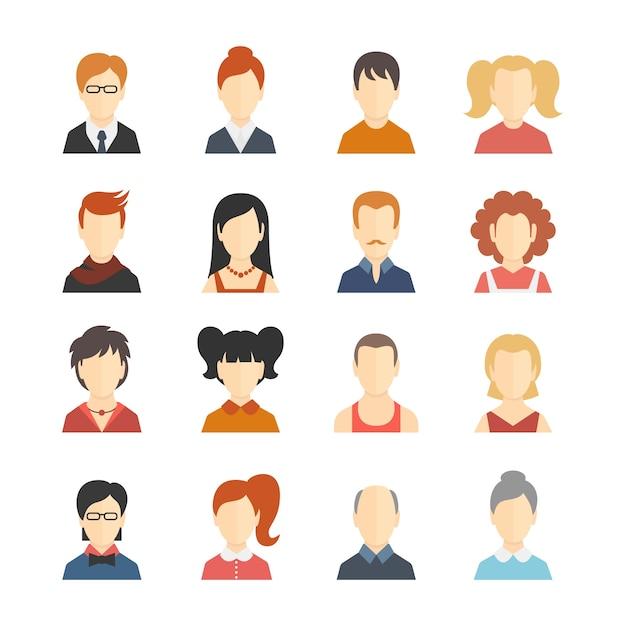 Redes sociais decorativas blogs de negócios usuários perfil avatar moda figurino coleção de ícones isolado ilustração vetorial liso Vetor grátis