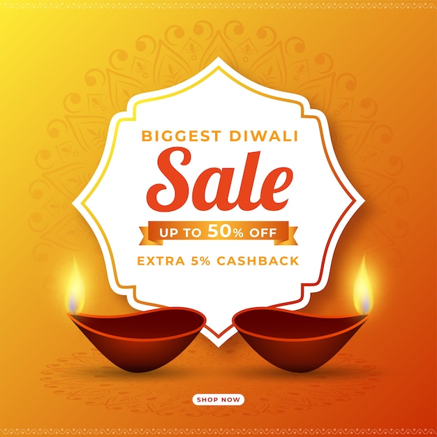 Reembolso pelo design de cartaz da maior promoção de diwali Vetor Premium