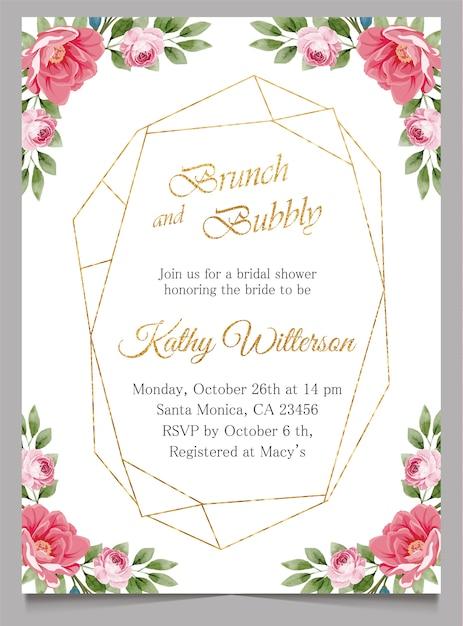Refeição matinal e convite borbulhante com floral, cartão do convite do chá de panela Vetor Premium