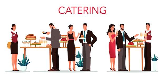 Refeições . ideia de ervilha alimentar no hotel. evento em restaurante, banquete ou festa. banner da web do serviço de catering. ilustração Vetor Premium