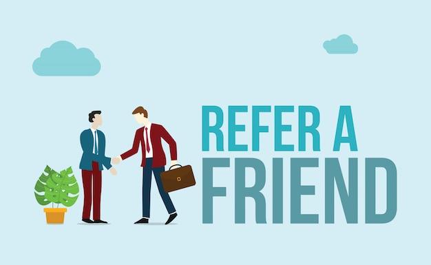 Referir um conceito de amigo Vetor Premium