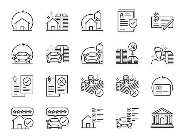 Refinanciar o conjunto de ícones de linha. Vetor Premium
