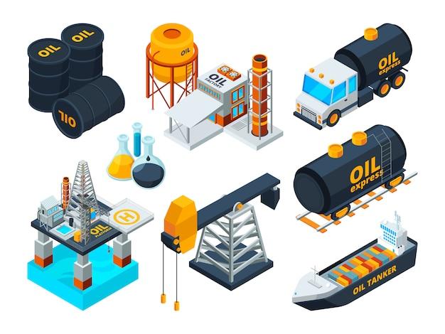 Refino de petróleo e gás. conjunto de imagens isométricas Vetor Premium