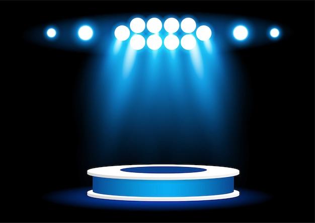 Refletor brilhante para iluminação do pódio Vetor Premium