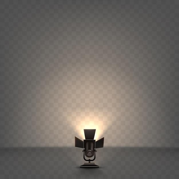 Refletor realista com luz quente Vetor grátis