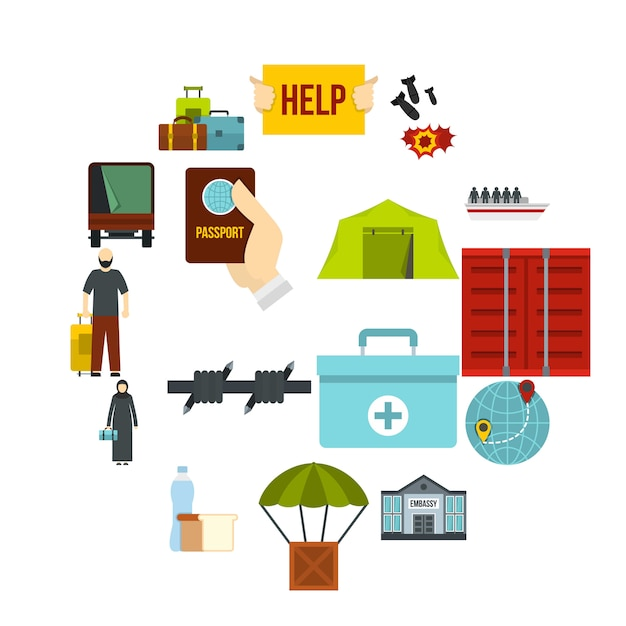 Refugiados, problema, jogo, apartamento, ícones Vetor Premium
