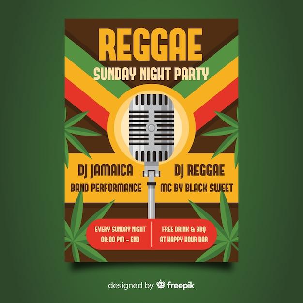 Reggae party night flyer Vetor grátis