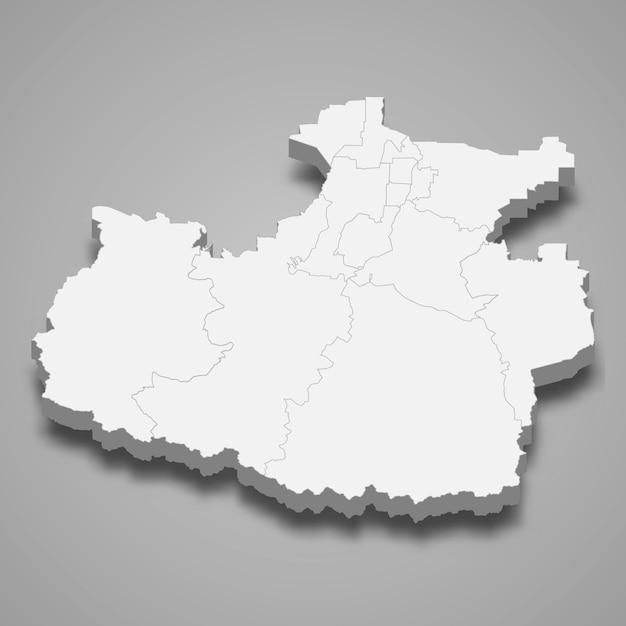 Região do mapa 3d da rússia Vetor Premium