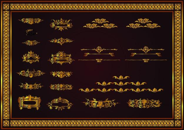 Regras de páginas diferentes para o design elegante da cor dourada Vetor Premium
