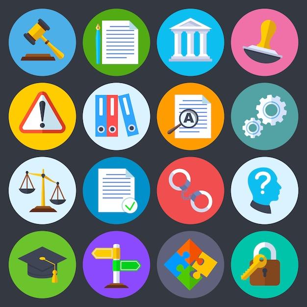Regulamento de negócios, conformidade legal e direitos autorais vetor ícones planas. legislação legal, complia Vetor Premium