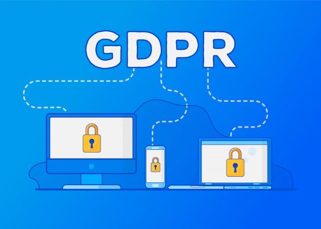 Regulamento geral de proteção de dados do gdpr. proteção de dados pessoais. Vetor Premium