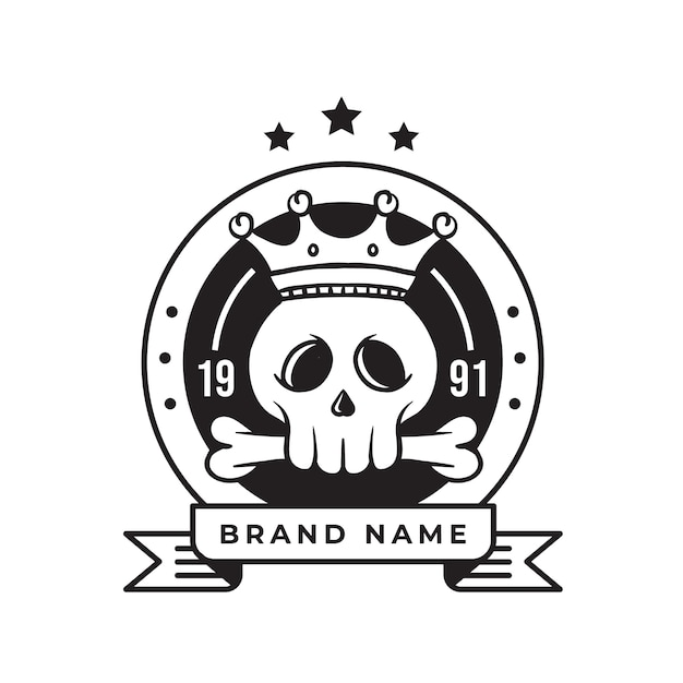 Rei crânio vintage retrô logotipo para negócios e comunidade Vetor Premium