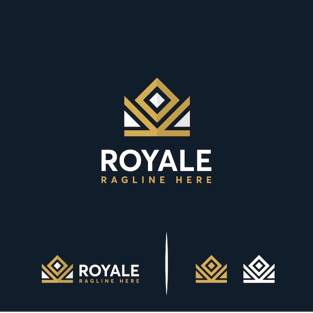 Rei da coroa de luxo, logotipo da coroa real Vetor Premium