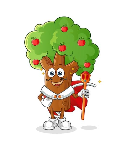 Rei da macieira. personagem de desenho animado Vetor Premium