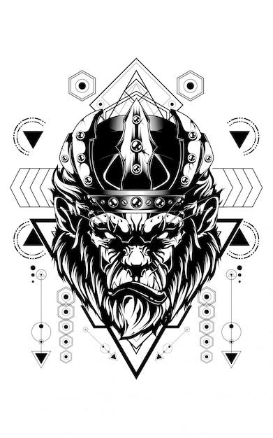 Rei do gorila geometria sagrada Vetor Premium