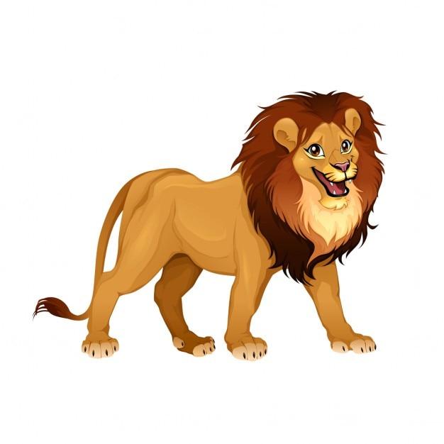 Rei Do Leao Dos Desenhos Animados Do Vetor Isolado Animais Vetor