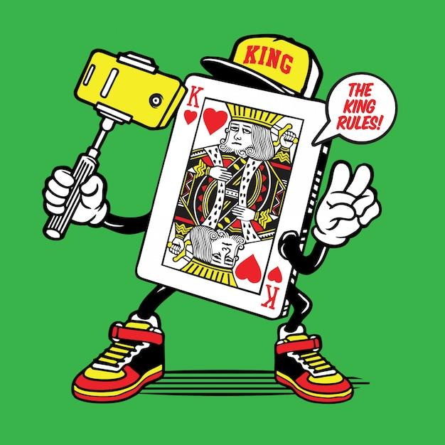 Rei do personagem de selfie de cartão de coração Vetor Premium
