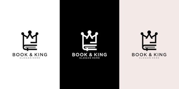 Rei e logotipo do livro Vetor Premium