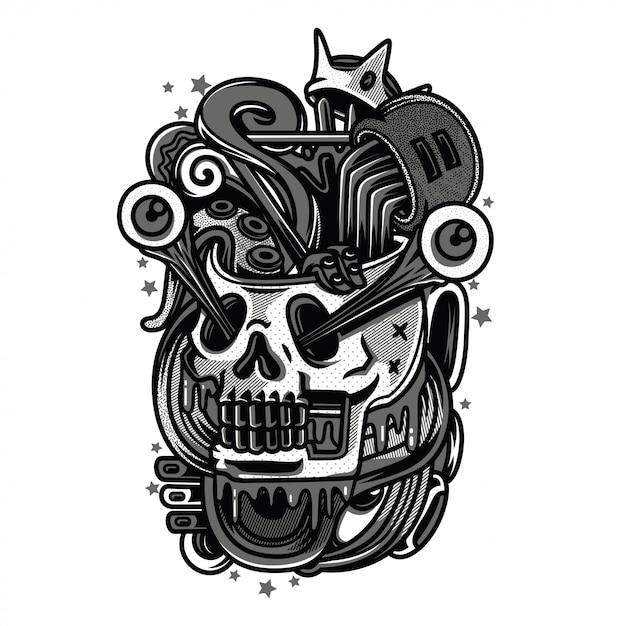 Rei falso preto e branco ilustração Vetor Premium
