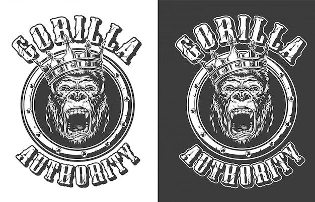 Rei feroz do gorila vintage rodada emblema Vetor grátis