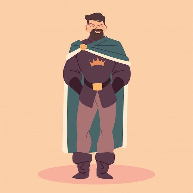 Rei, homem com vestes reais, monarca Vetor Premium