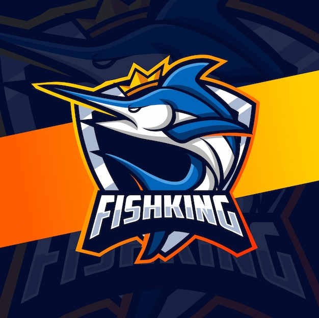 Rei mascote peixe esport logotipo design Vetor Premium