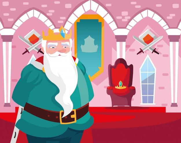 Rei no conto de fadas do castelo com decoração Vetor Premium
