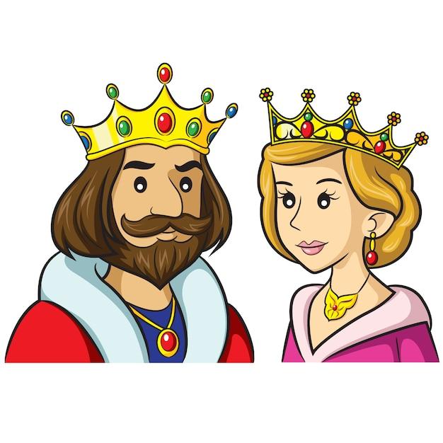 Rei rainha dos desenhos animados Vetor Premium
